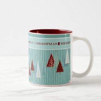 Modern Christmas Trees Striped Holiday Mug