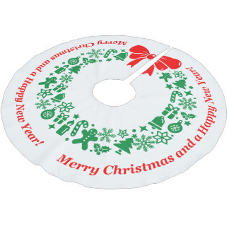 Modern Christmas Wreath composed of Xmas motifs, Brushed Polyester Tree Skirt
