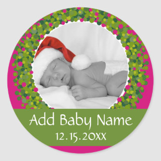 Modern Christmas Wreath Photo Frame PINK Round Sticker