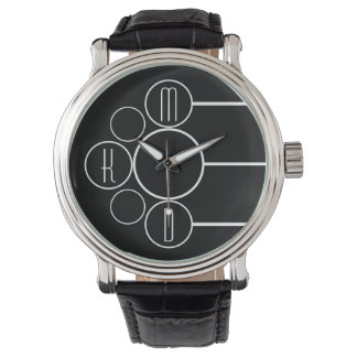 Modern Chronometer Monogrammed Black Watch