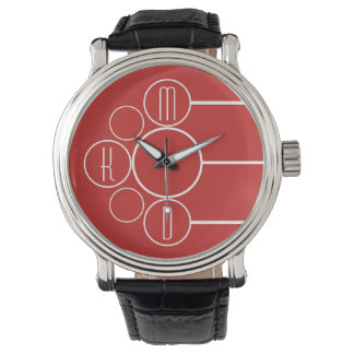 Modern Chronometer Monogrammed Red Watch