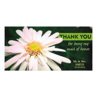 Modern Chrysanthemum Bridesmaid Thank You Card Personalized Photo Card