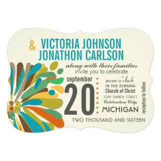 Modern Chrysanthemum Coral Yellow Lime Floral Personalized Invitations