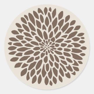 Modern Chrysanthemum Graphic Classic Round Sticker
