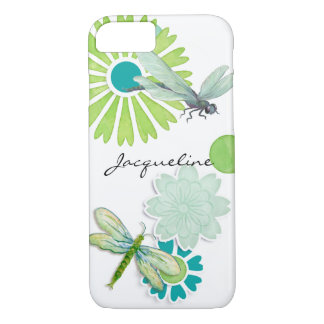 Modern Circle Flowers n Dragonfly Watercolor Art iPhone 8/7 Case