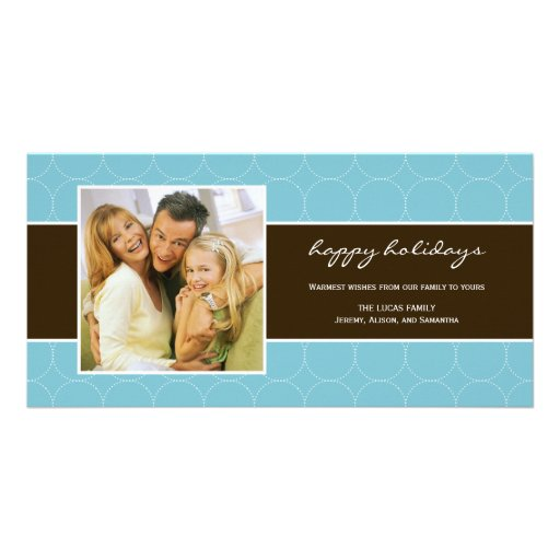 Modern Circles Holiday Photo Card - Turquoise Photo Greeting Card