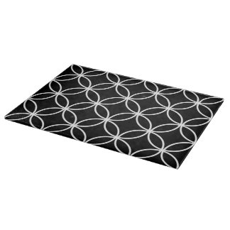 Modern Circles Pattern Black and White Cutting Boards
