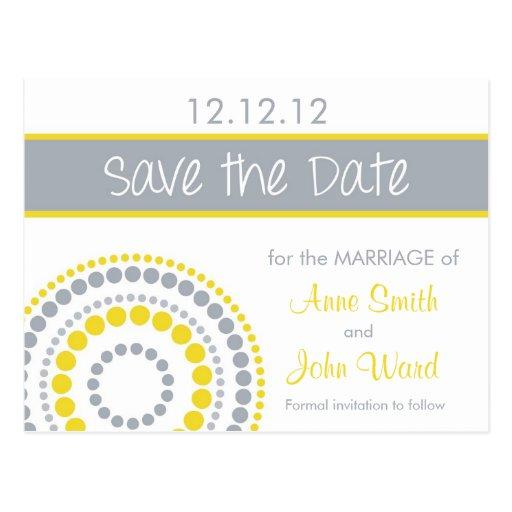Modern Circles Save the Date - Yellow & Gray Postcard