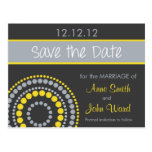 Modern Circles Save the Date - Yellow & Grey Postcards