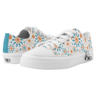 Modern circular bursts teal and orange low tops