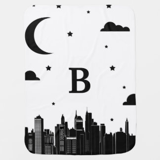 Modern City Scape & Night Sky Baby's Initial Baby Blanket