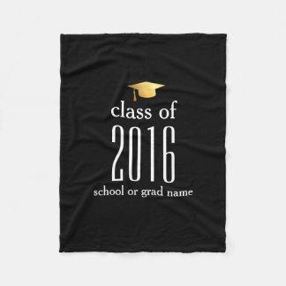 Modern Class of 2017 Graduation Cap Custom Color Fleece Blanket
