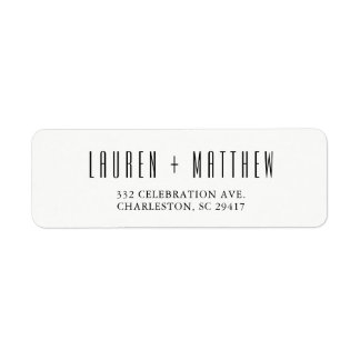 Modern Classic | Black and White Wedding Return Address Label