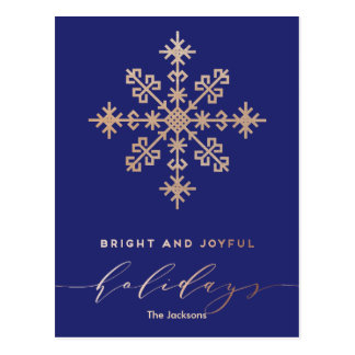 Modern Classic Bright Joyful Red and Gold Holiday Postcard