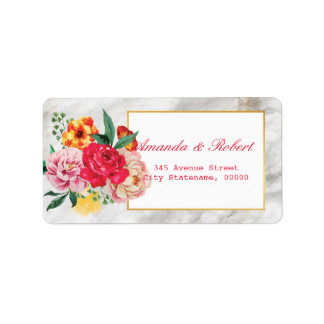 Modern Classic GOLD MARBLE  Floral Peony address Label