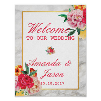 Modern Classic MARBLE Floral Peony WEDDING SIGN