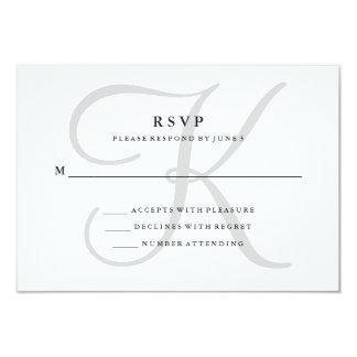 Modern Classic Monogram in Gray RSVP 9 Cm X 13 Cm Invitation Card