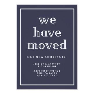 Modern Classic Navy Blue New Address Card