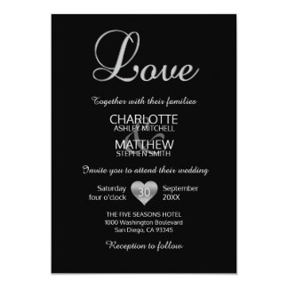 Modern Classic Silver White Black LOVE Wedding Card