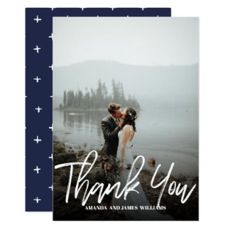 Modern classy Brushed  Photo WEDDING THANK YOU Card
