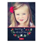 Modern Classy Chevron Merry Christmas Photo Card Invites