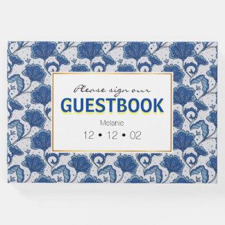 Modern classy elegant blue batik pattern guest book