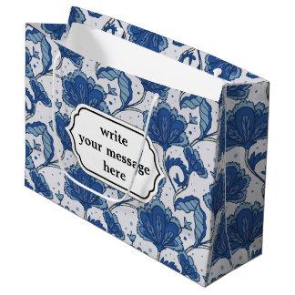 Modern classy elegant blue batik pattern large gift bag