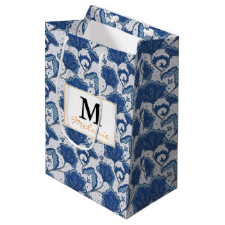 Modern classy elegant blue batik pattern medium gift bag