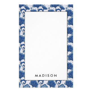 Modern classy elegant blue batik pattern stationery