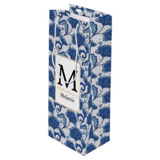 Modern classy elegant blue batik pattern wine gift bag