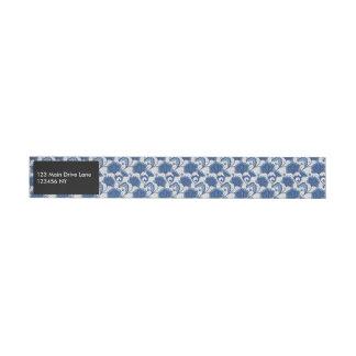 Modern classy elegant blue batik pattern wraparound address label