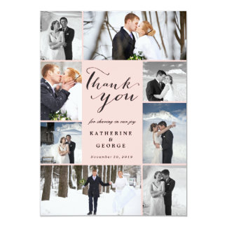 Modern Classy Photo Collage Wedding Thank You Card