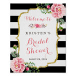 Modern Classy Pink Floral Bridal Shower Sign Poster