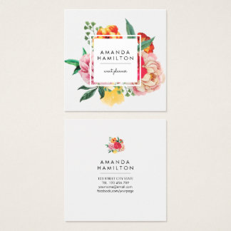 Modern Classy Watercolor Peony Floral Square Business Card