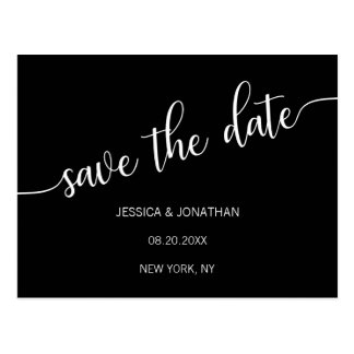 Modern Classy White Black Wedding SAVE THE DATE Postcard