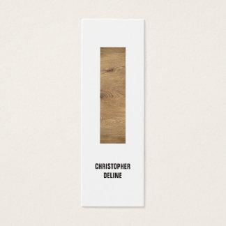 Modern Clean Elegant Wood Stripe Interior Designer Mini Business Card