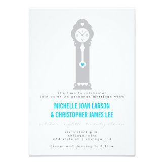 Modern Clock with Hearts Wedding Invitation