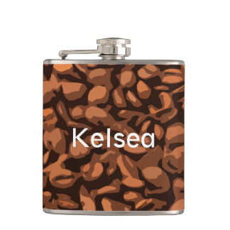 Modern Coffee Beans Personalized Hip Flask