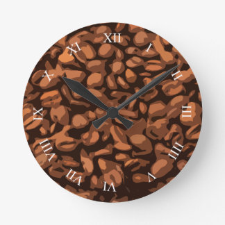 Modern Coffee Beans Roman Numeral Numbers Round Clock