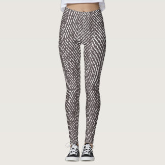Modern Coffee Brown Herringbone Leggings