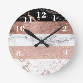 Modern color block rose gold marble stripe pattern round clock