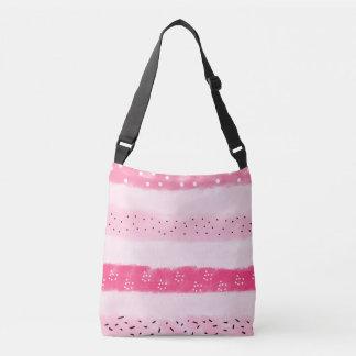 modern color block stripes white pink brushstrokes crossbody bag