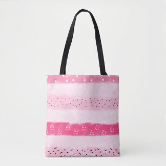 modern color block stripes white pink brushstrokes tote bag
