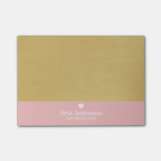 Modern Color Block with Upscale Heart Monogram Post-it® Notes