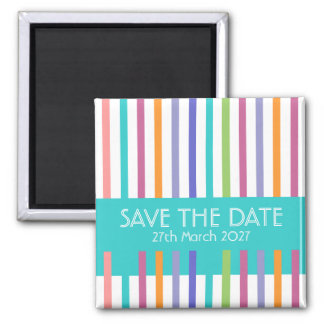 Modern Color Striped Save The Date Magnet