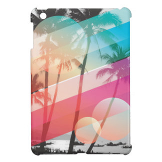 Modern Color stripes coconut trees background Cover For The iPad Mini