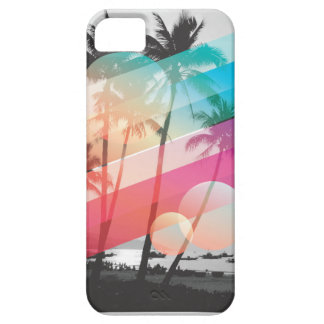 Modern Color stripes coconut trees background iPhone 5 Cases