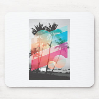 Modern Color stripes coconut trees background Mouse Pad
