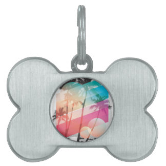 Modern Color stripes coconut trees background Pet ID Tag