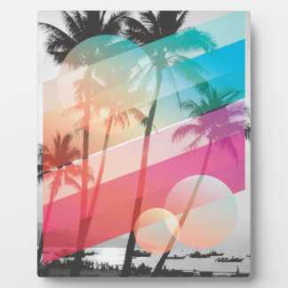 Modern Color stripes coconut trees background Plaques